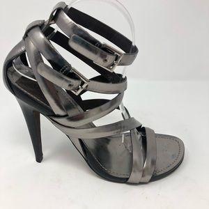 Tory Burch High Heels 10 Metallic Shoes Silver